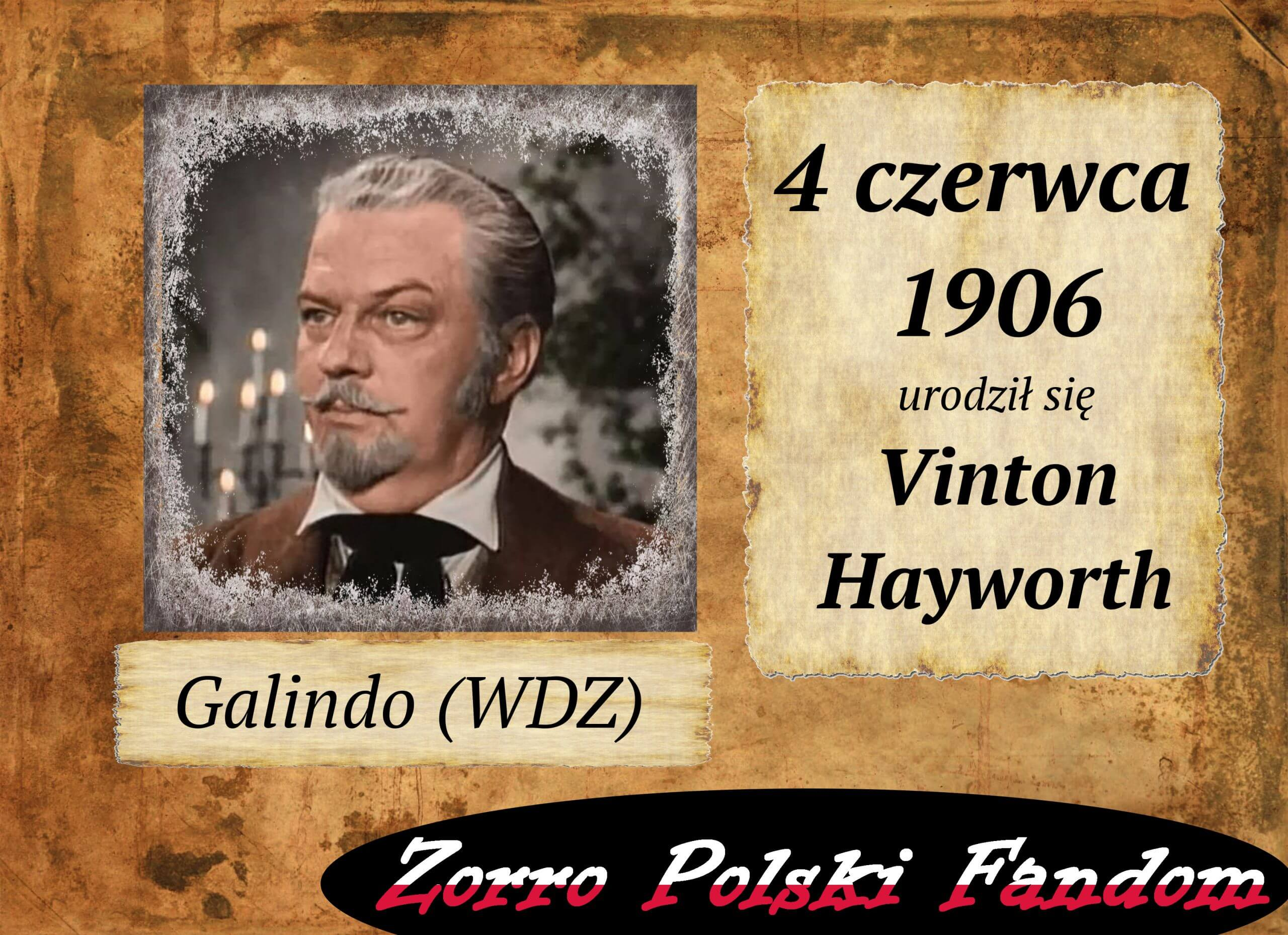 4 czerwca ur. Vinton Hayworth PL sędzia Carols Galindo Zorro