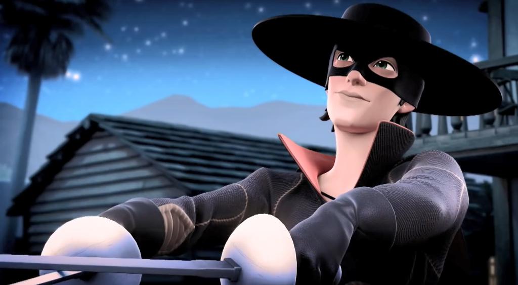01 - szpada Zorro Strój Zorro, maska Zorro — Kroniki Zorro odcinek 1 Powrót