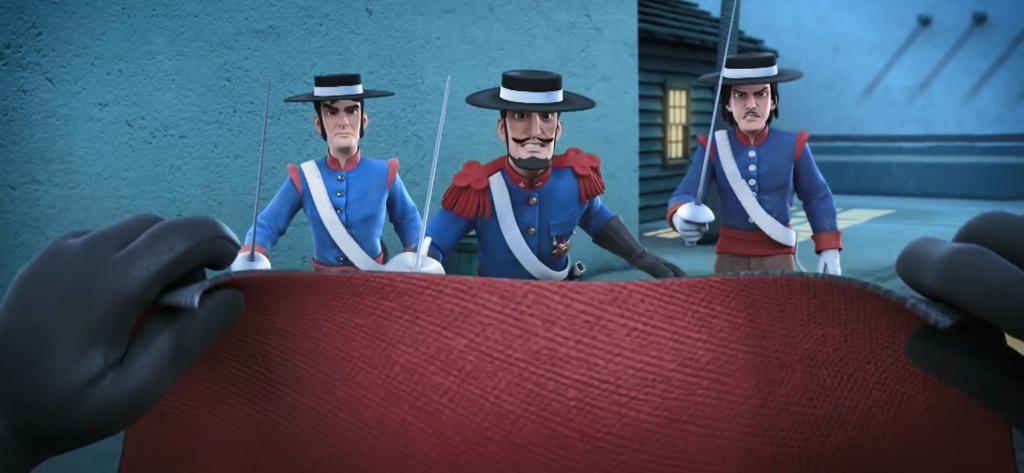 03 - pojedynek Zorro korrida, broń Zorro peleryna