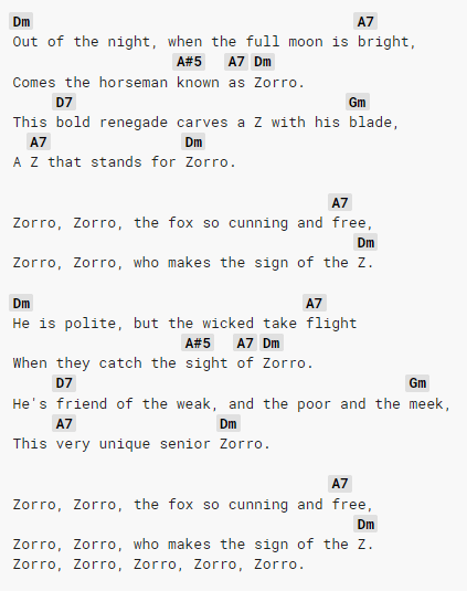 Walt Disney Zorro piosenka chwyty na gitarę 2