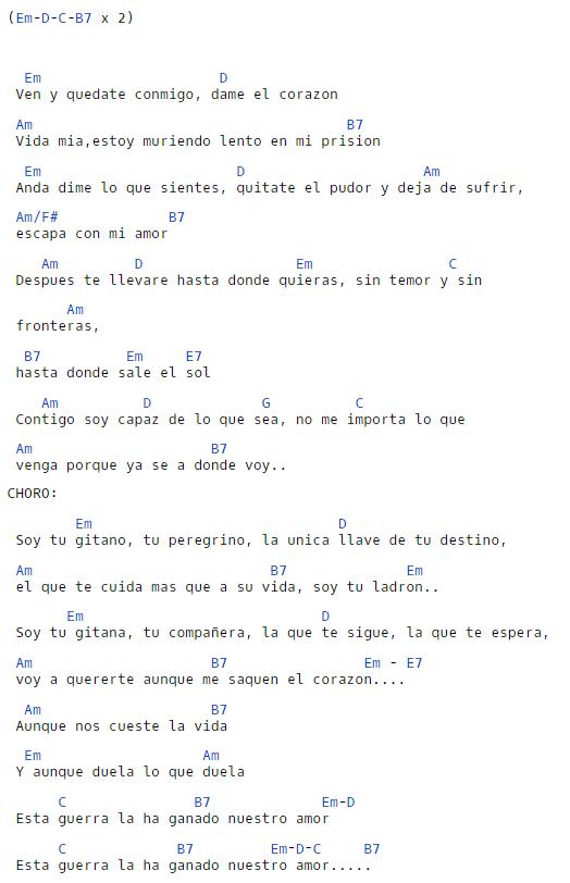 El Zorro, la Espada y la Rosa piosenka Amor Gitano — chwyty na gitarę