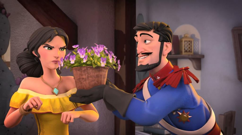 Kroniki Zorro odcinek 17 Susza Monasterio daje Inez kwiatki Zorro the Chronicles episode 17 Drought