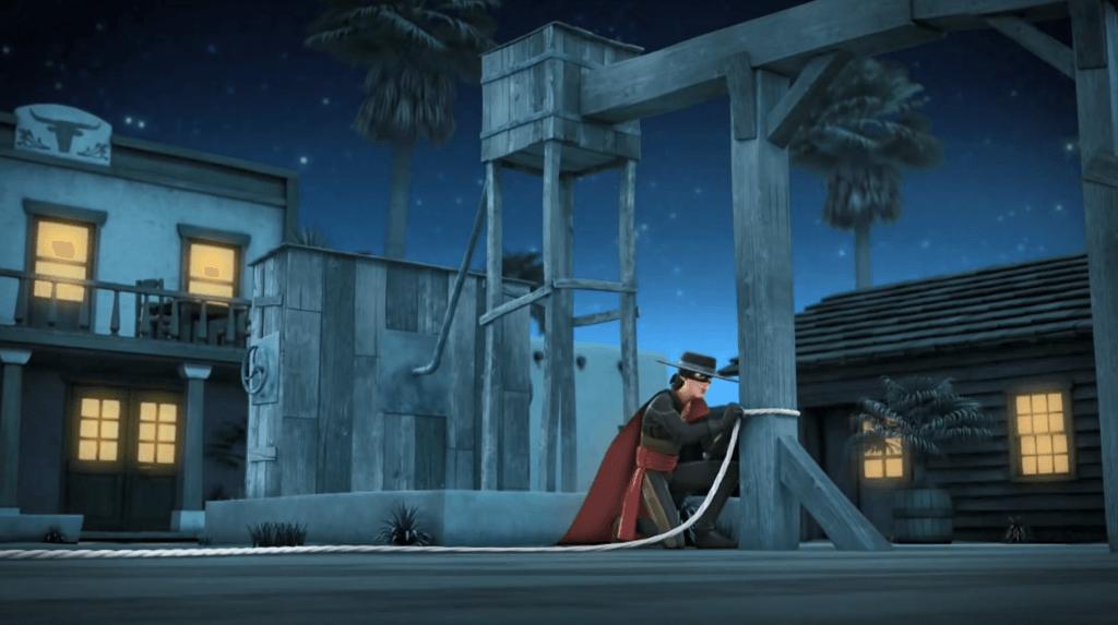 Kroniki Zorro odcinek 17 Susza Zorro przywiązuje konia Zorro the Chronicles episode 17 Drought