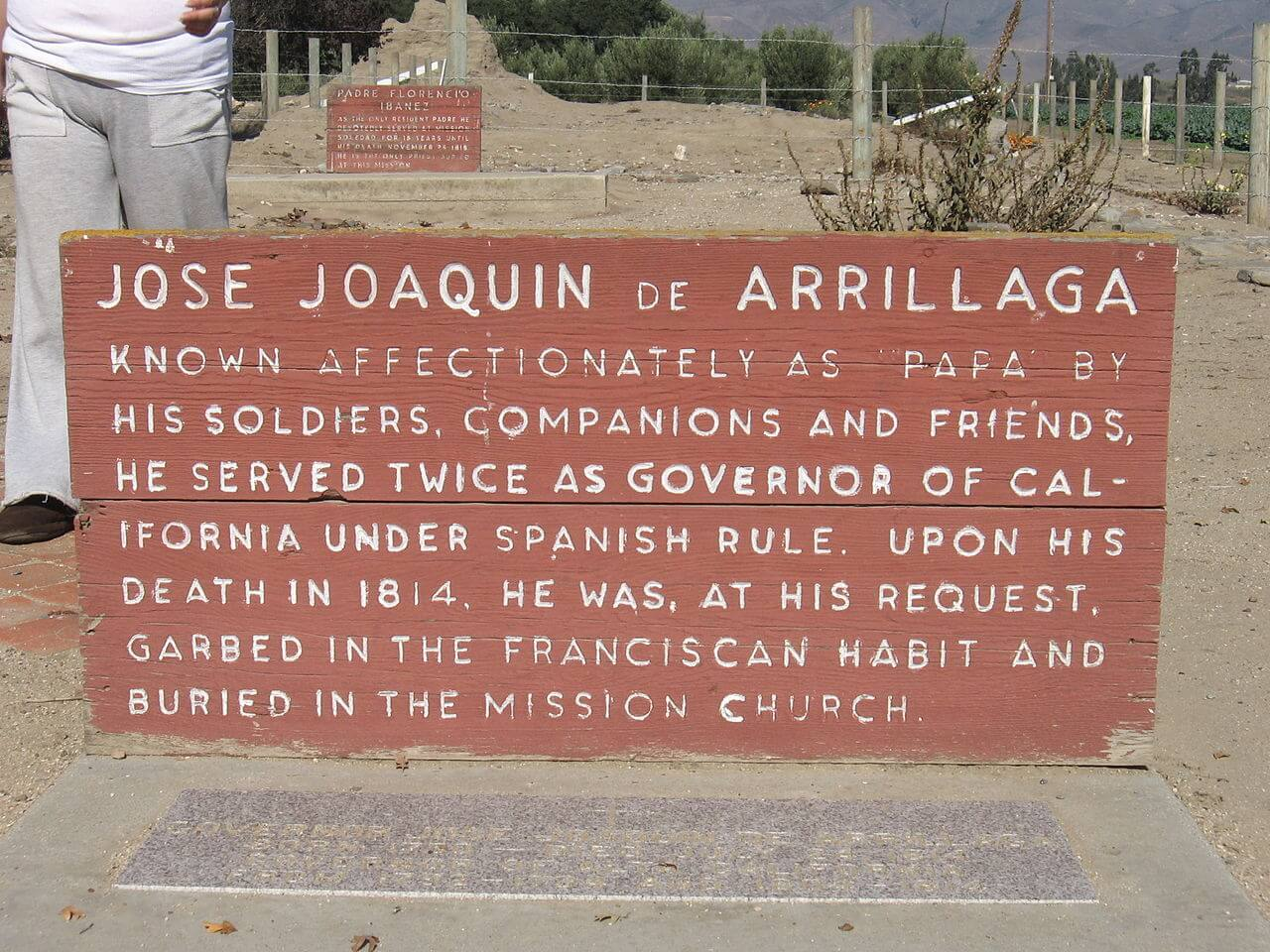 Jose Joaquin De Arrillaga's grave site located in the Mission Nuestra Señora de la Soledad, author Tolerancezero, by Wikimedia Commons, CC-BY-SA-3